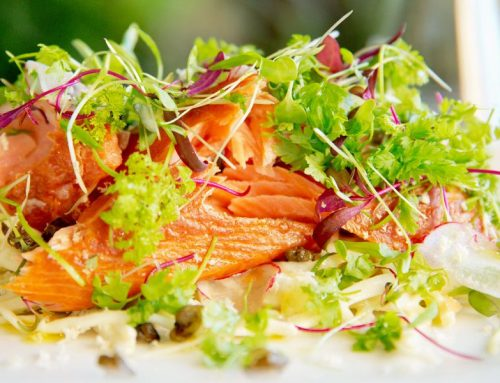 Jason's Hot Smoked Ocean Trout Salad, Fennel, Celeriac & Green Apple, Fresh Horseradish